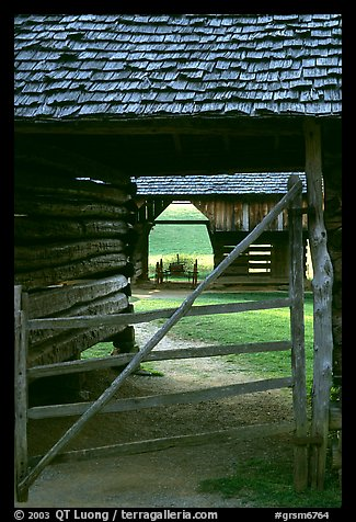 Barn seen through another barn, Cades Cove, Tennessee. Great Smoky Mountains National Park (color)
