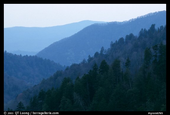 Ridges from Morton overlook, dusk, Tennessee. Great Smoky Mountains National Park (color)