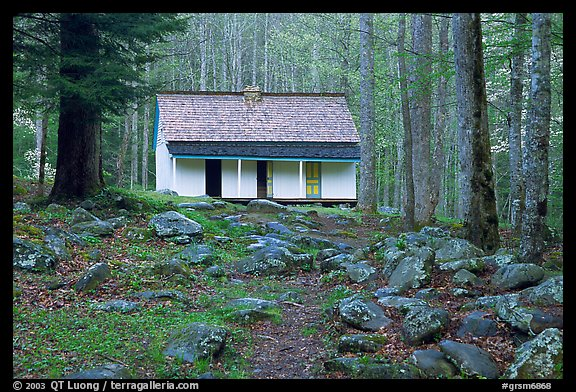 Alfred Reagan saddlebag house, Tennessee. Great Smoky Mountains National Park (color)