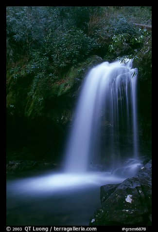 Grotto falls in darkness of dusk, Tennessee. Great Smoky Mountains National Park (color)