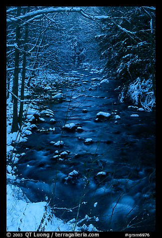 Creek and snowy trees in winter, Tennessee. Great Smoky Mountains National Park (color)