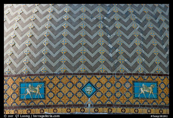 Detail of tiled dome of Quapaw Baths. Hot Springs National Park (color)