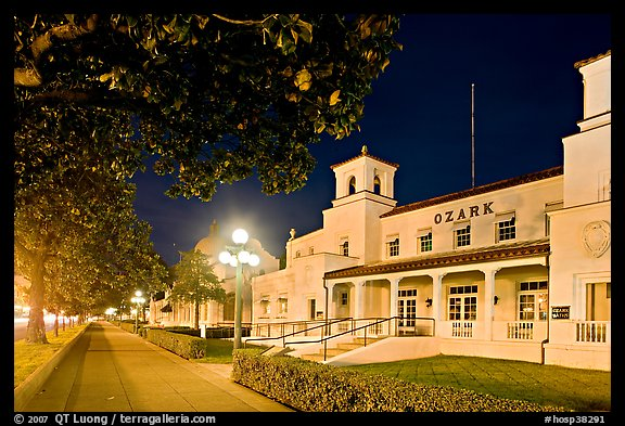 Ozark Baths and Bathhouse Row at night. Hot Springs National Park (color)