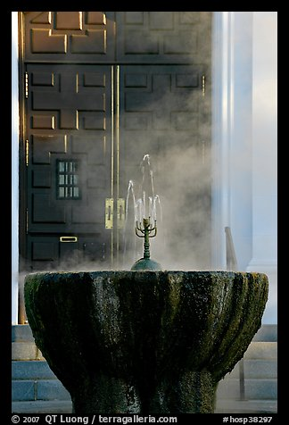 Fountain with thermal steam outside Park Visitor Center. Hot Springs National Park (color)