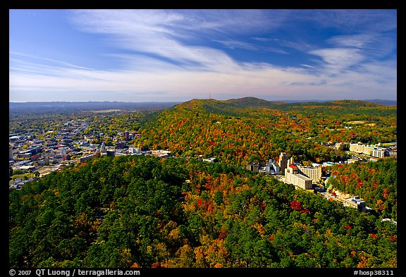 View over Hot Springs Mountain and West Mountain in the fall. Hot Springs National Park, Arkansas, USA.