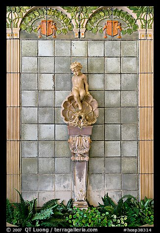 Cherub fountain adorning lobby, Fordyce Baths. Hot Springs National Park (color)