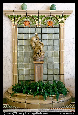 Cherub fountain in entrance hall, Fordyce Baths. Hot Springs National Park (color)