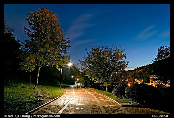 Grand Promenade at night. Hot Springs National Park (color)