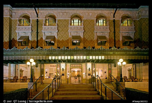 Fordyce Bathhouse facade at night. Hot Springs National Park (color)