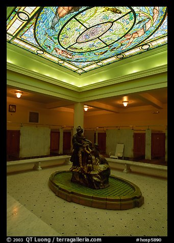 Court with stained glass roof in Fordyce bathhouse. Hot Springs National Park (color)