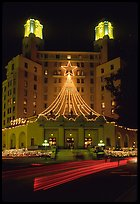 Arlington Hotel at night with Christmas lights. Hot Springs, Arkansas, USA (color)