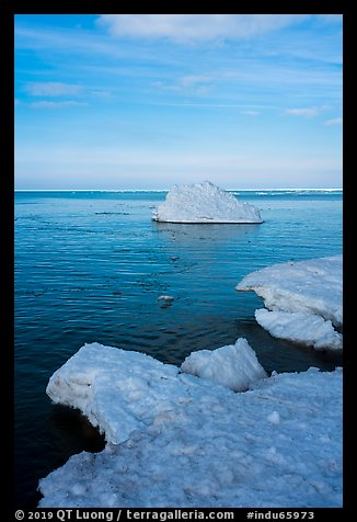 Shelf ice and iceberg, Lake View. Indiana Dunes National Park (color)
