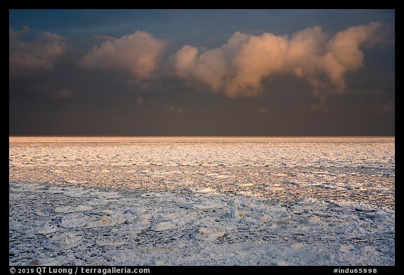 Frozen Lake Michigan at sunrise. Indiana Dunes National Park (color)