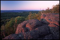 Eroded granite blocs on Mount Franklin at sunset. Isle Royale National Park, Michigan, USA.
