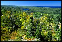 Forested view with Sargent Lake and Lake Superior in the distance. Isle Royale National Park, Michigan, USA.