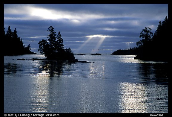 Sunrays and islet,  Chippewa harbor. Isle Royale National Park (color)