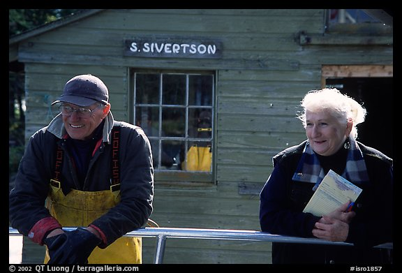 Commercial fishermen Milford and Monica Johnson at Sivertson Fish House. Isle Royale National Park (color)