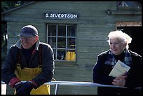 Commercial fishermen Milford and Monica Johnson at Sivertson Fish House. Isle Royale National Park ( color)
