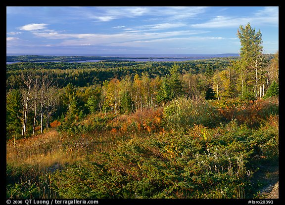 Lake Ojibway from Greenstone ridge in autumn. Isle Royale National Park (color)