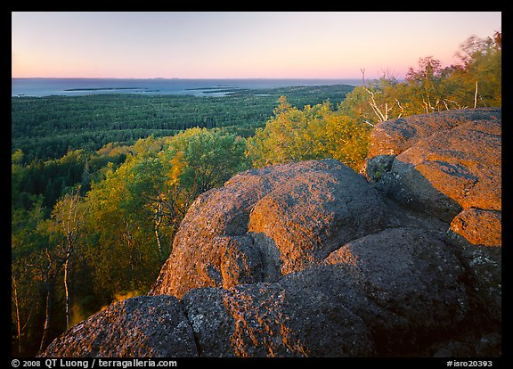 Mount Franklin granite outcrop and distant Lake Superior at sunset. Isle Royale National Park (color)