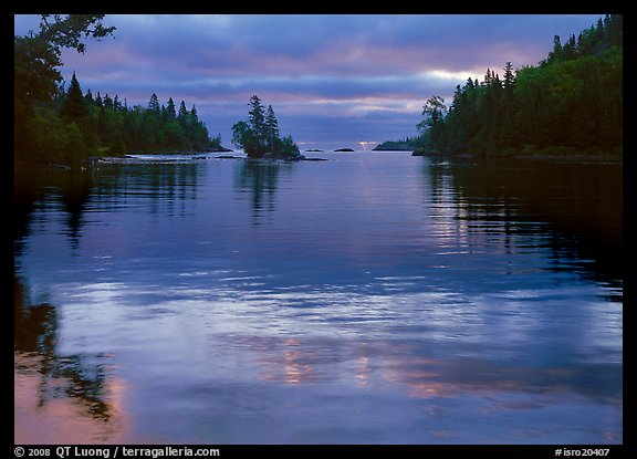 Islet in Chippewa Harbor at sunrise. Isle Royale National Park (color)