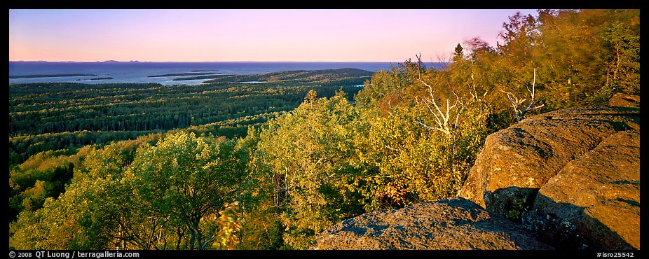 Rocky bluff overlooking island with Lake Superior in the distance. Isle Royale National Park (color)