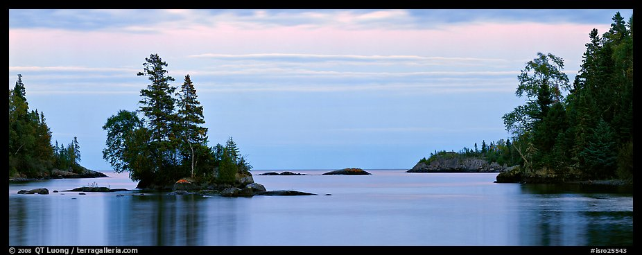 Tree-covered islet at dawn. Isle Royale National Park (color)