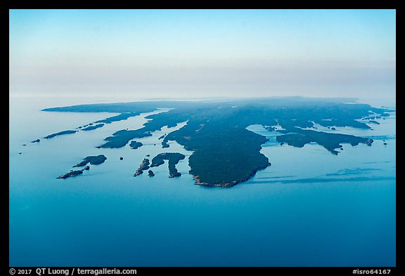Aerial View of Isle Royale with aligned ridges. Isle Royale National Park (color)