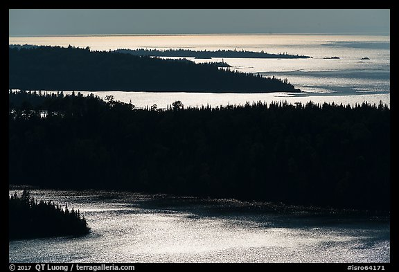 Ridges and water glitter from Louise Lookout. Isle Royale National Park (color)