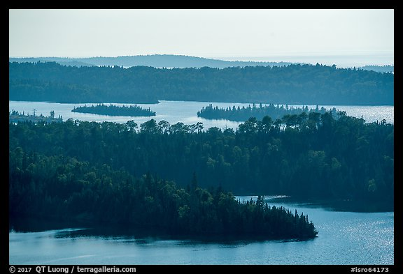 Ridges and islets from Louise Lookout. Isle Royale National Park (color)