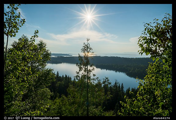 View from Louise Lookout looking into the sun. Isle Royale National Park (color)