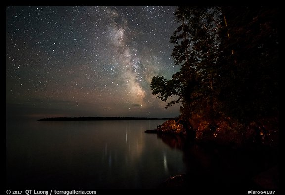 Milky Way and Smithwitck Island from Rock Harbor. Isle Royale National Park (color)