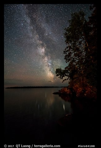 Milky Way and tall trees from Rock Harbor. Isle Royale National Park (color)