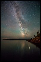 Milky Way reflected in Rock Harbor. Isle Royale National Park ( color)