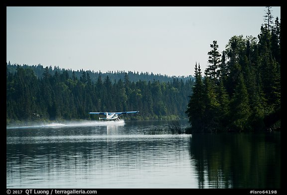 Floatplane take off, Tobin Harbor. Isle Royale National Park (color)