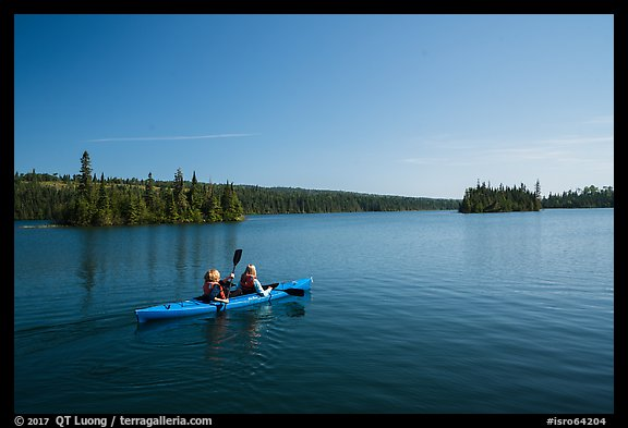 Kayakers, Tobin Harbor. Isle Royale National Park (color)
