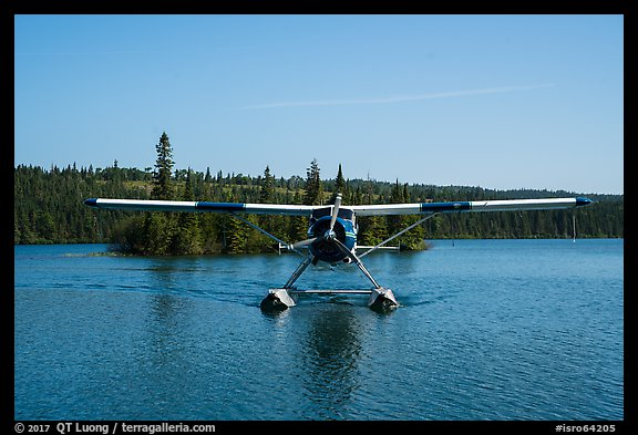 Sea Plane approaching, Tobin Harbor. Isle Royale National Park (color)