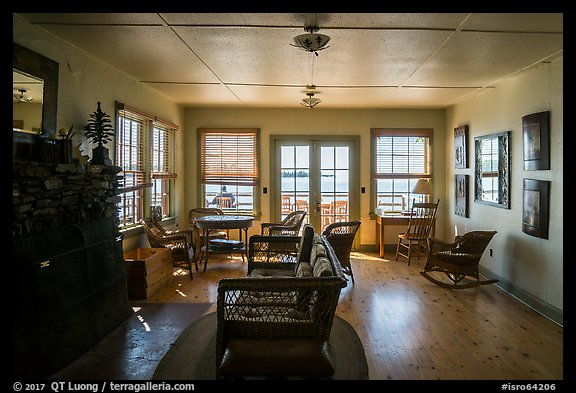 Inside Rock Harbor Lodge. Isle Royale National Park (color)