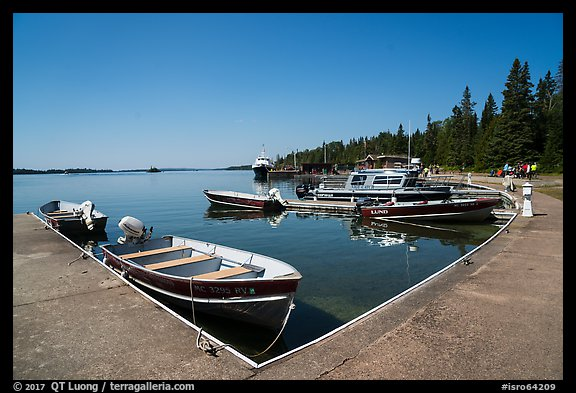 Small boats moored at marina, Rock Harbor. Isle Royale National Park (color)
