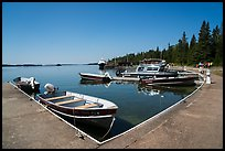 Small boats moored at marina, Rock Harbor. Isle Royale National Park ( color)
