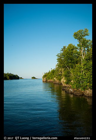 Trees and reflections, Tookers Island. Isle Royale National Park (color)