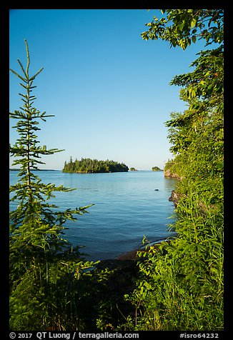 Shaw Island framed by trees of Tookers Island. Isle Royale National Park (color)