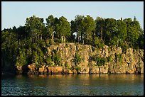 Sea cliffs and trees, late afternoon. Isle Royale National Park ( color)