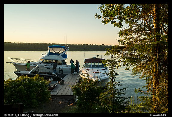 Dock with several boats moored, Tookers Island. Isle Royale National Park (color)