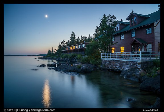 Rock Harbor Lodge and moon at dusk. Isle Royale National Park (color)