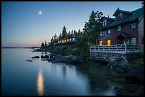 Rock Harbor Lodge and moon at dusk. Isle Royale National Park ( color)
