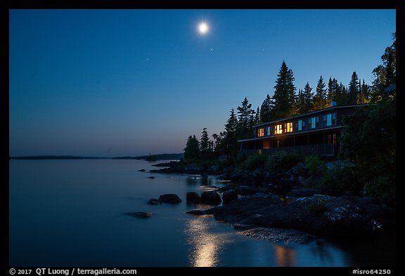 Rock Harbor Lodge at night. Isle Royale National Park (color)
