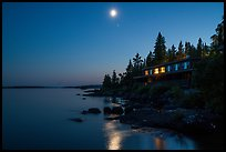 Rock Harbor Lodge at night. Isle Royale National Park ( color)