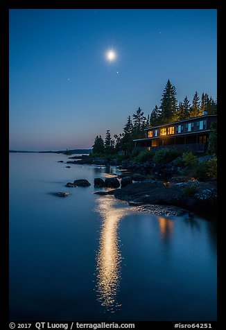 Rock Harbor Lodge at night, moon and reflection. Isle Royale National Park (color)