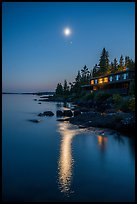Rock Harbor Lodge at night, moon and reflection. Isle Royale National Park ( color)
